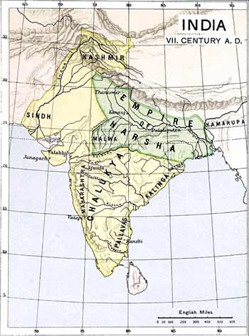 Map of India in the 7th century, showing the vast territory of the Empire of Harsha. (Public domain)
