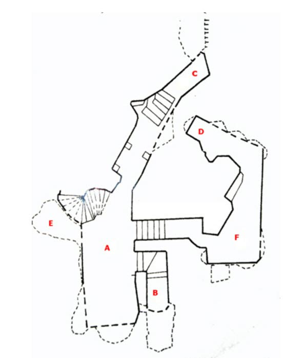 A map roughly illustrating the layout of the Cividale Hypogeum