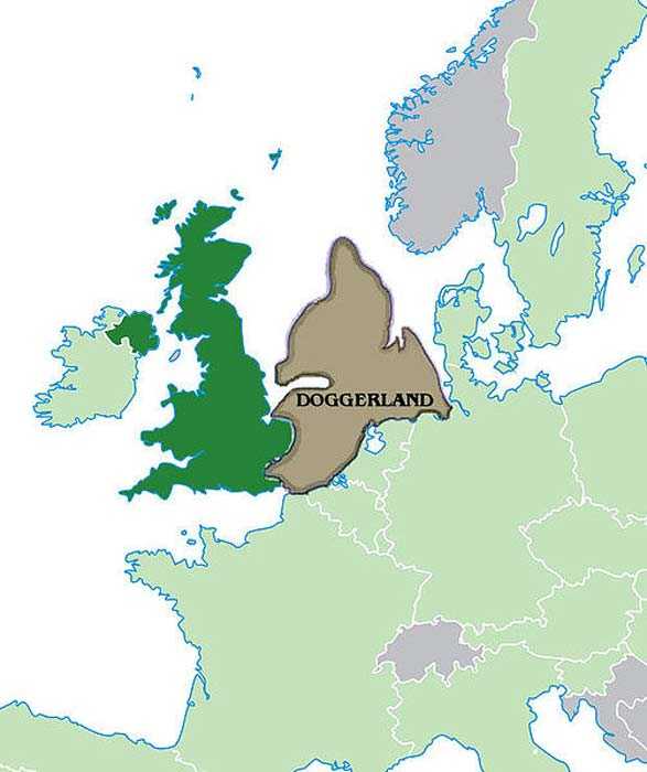 A map of Doggerland as it is believed to have looked ca. 10,000 BP, superimposed on map of the UK, EU and Europe