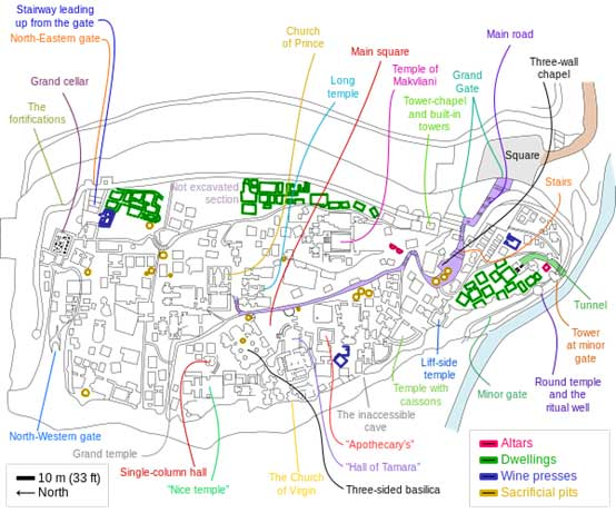 A map of the Uplistsikhe rock city