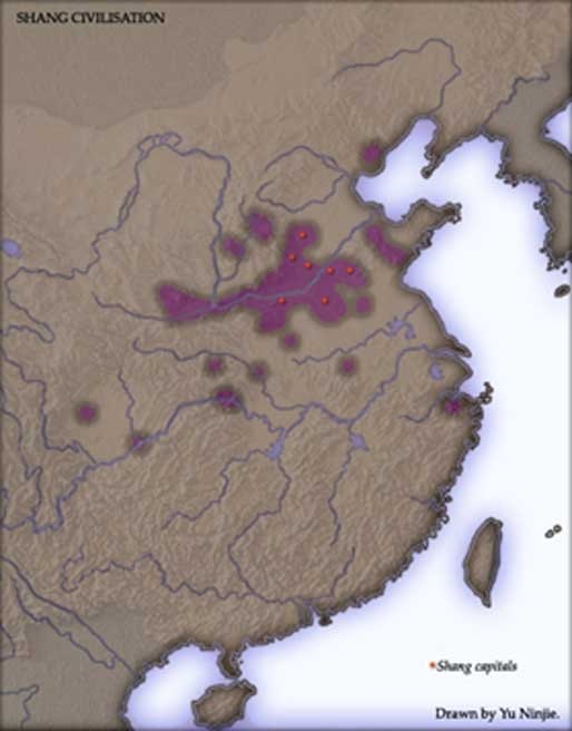 This map shows the capitals and territory of the Shang Dynasty, as determined by archaeological explorations.