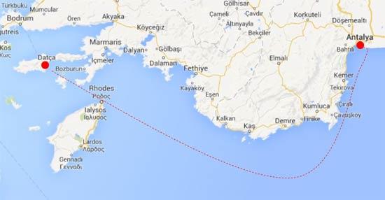 Map showing area between Datça peninsula and Antalya where shipwrecks were found
