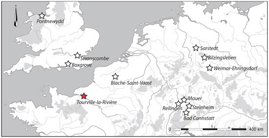 Location of the open-area site of Tourville-la-Rivière and other Northwest European contexts