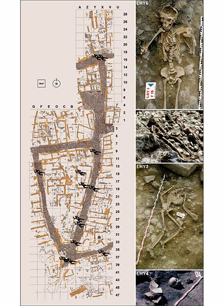 A map of where the victims were found at La Hoya, along with photos of some of them. (A. Llanos, modified by J. Ordoño / Antiquity Publications Ltd)