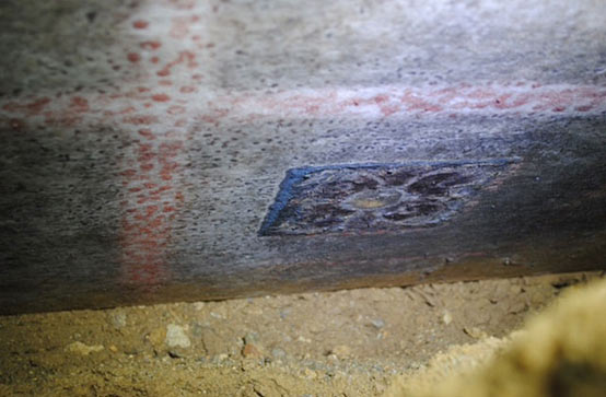 Large marble block are traces of blue, red, yellow - Amphipolis tomb