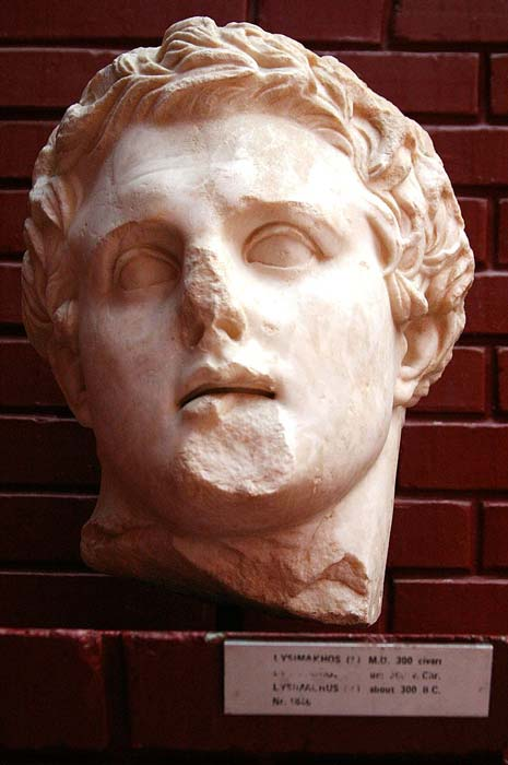 A marble bust of Lysimachus.