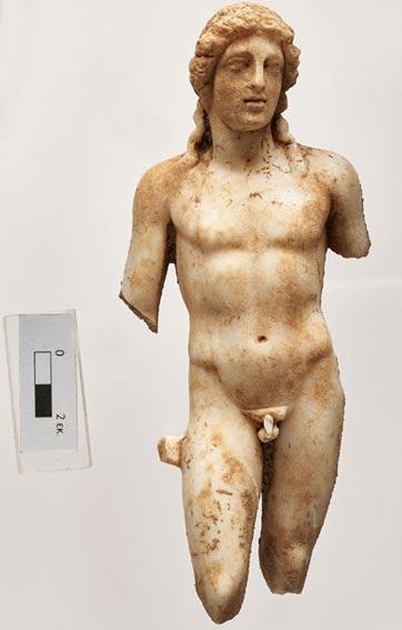 The marble statue of Apollo.