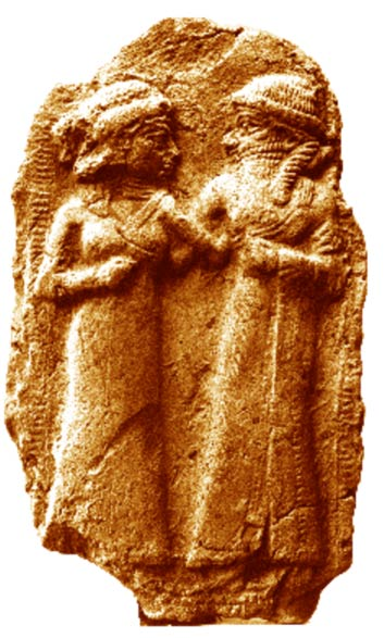 The marriage of Inanna and Dumuzi, reproduction of a Sumerian sculpture