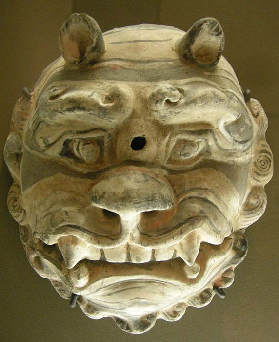 A mask of the Sui Dynasty, which lasted from just 581 to 618 AD