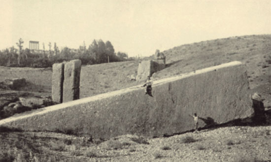 An old image depicting the massive stones at Baalbek