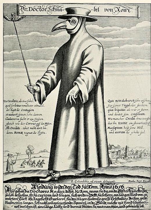 Illustration showing how medieval doctors protected themselves to treat patients suffering from the plague.
