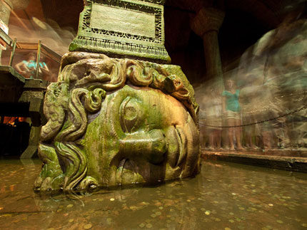 One of the Medusa heads in the Basilica Cistern
