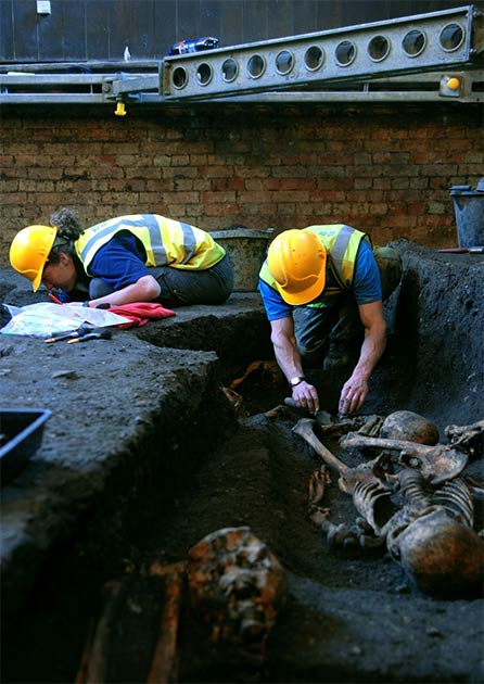 Members of the Cambridge Archaeological Unit at work on the excavation of the Hospital of St. John the Evangelist in 2010. (Cambridge Archaeological Unit)