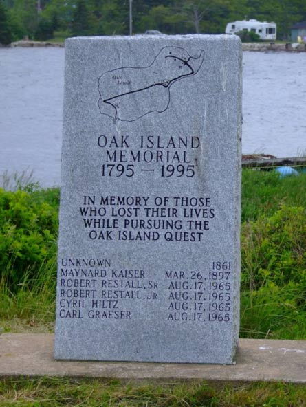 A memorial dedicated to those who lost their lives while searching for the mysterious treasure on Oak Island