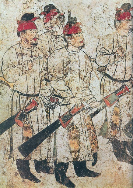 Images of men in a mural of from a mural in Li Xian's (exiled son of Wu Zetian) tomb at Qianling Mausoleum, dated 706 AD.