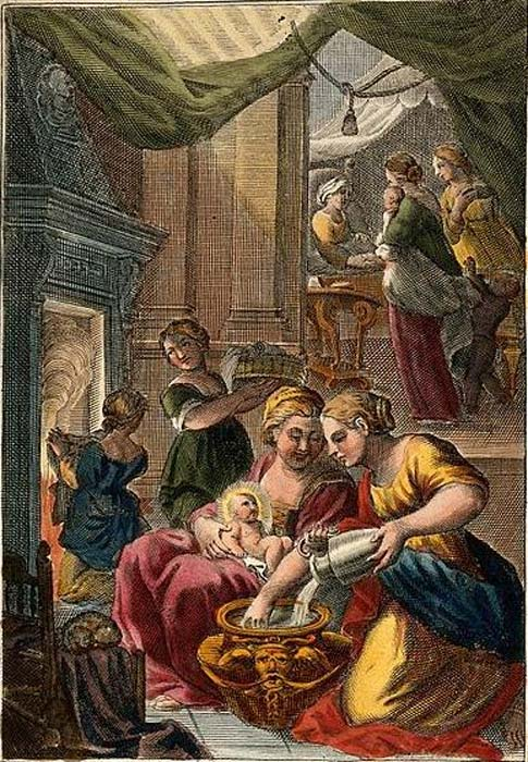 A midwife giving the Virgin Mary her first bath. Anna is visited by well-wishers congratulating her on the birth. Colored line engraving.