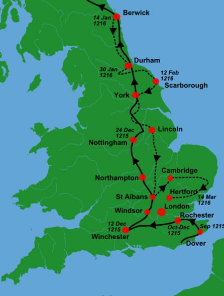 King John's military campaigns from 1215-1216.