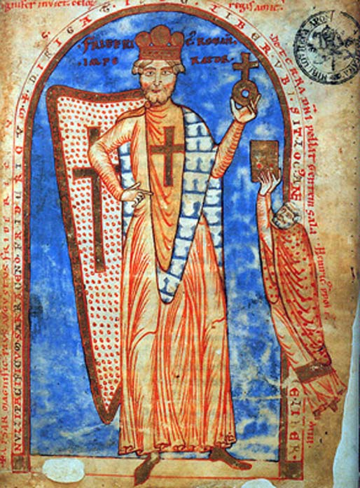 A miniature of Frederick I Barbarossa as a crusader.