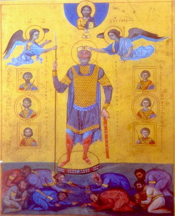 In this miniature, Basil II is being crowned by angels. Note the halo around his head. (Public Domain)