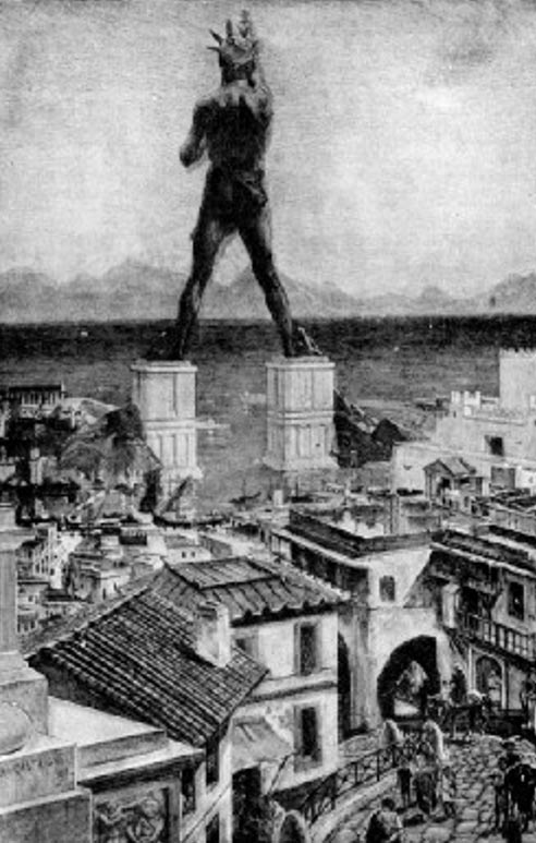Artist's misconception of the Colossus of Rhodes from the 1911 Book of Knowledge.