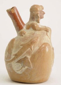 Moche IV ceramic bottle showing shark