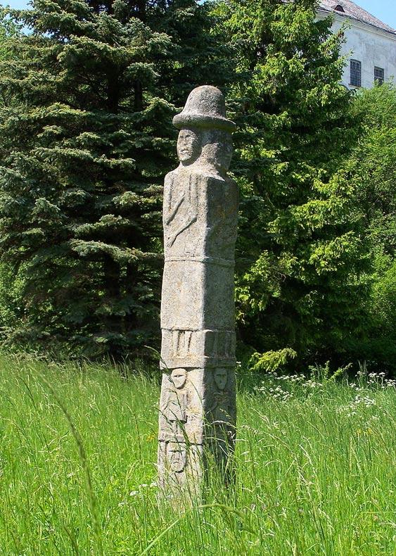 A modern Svetovid sculpture in Olesko, Ukraine.