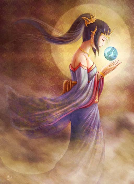 A modern depiction of Amaterasu.