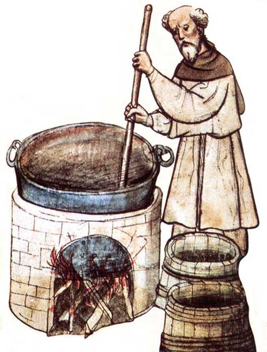 Drawing of a monk brewing beer.