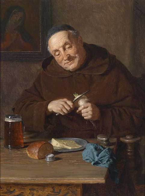 A monk with his meal (1908) By Eduard Grützner.