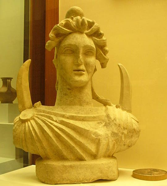 A bust of the moon god Men, on display at the Museum of Anatolian Civilizations in Ankara.