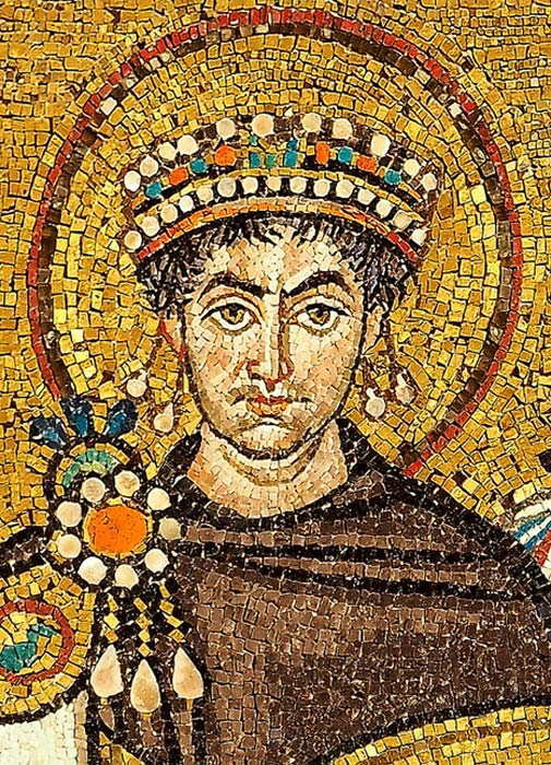 This mosaic in a church in Ravenna is a portrait of Justinian.