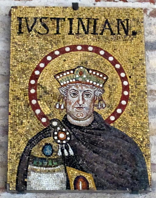 A mosaic of Justinian from a church in Ravenna, Italy