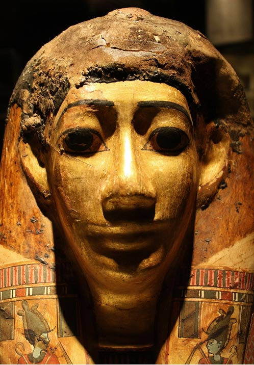 Example of a mummy mask made with layers of linen and papyri.