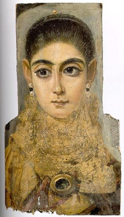 3rd century mummy portrait of a young woman.