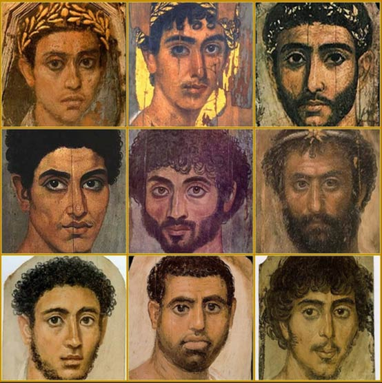Nine mummy portraits from Faiyum