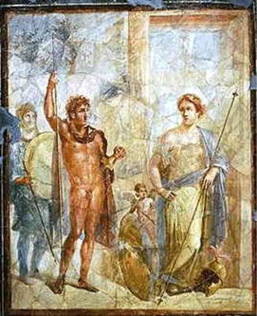 A mural in Pompeii depicting the marriage of Alexander the Great to Barsine