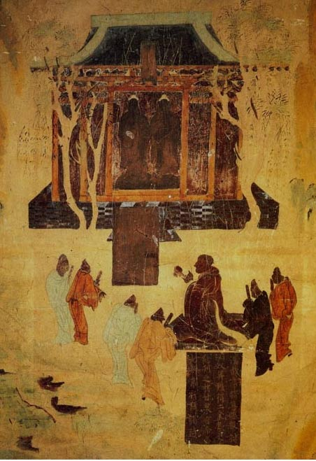A cave in Mogao shows a Western Han Dynasty cave mural of Emperor Wu, the greatest Han monarch during a prosperous era, worshiping Buddhas. His grandson Liu He was not so illustrious but was given a grand burial anyway.