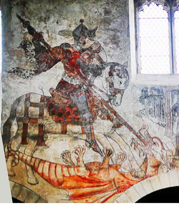 Closeup of mural of St. George slaying the dragon at St Peter and St Paul Church, Pickering, England. (Helge Klaus Rieder / CC0)
