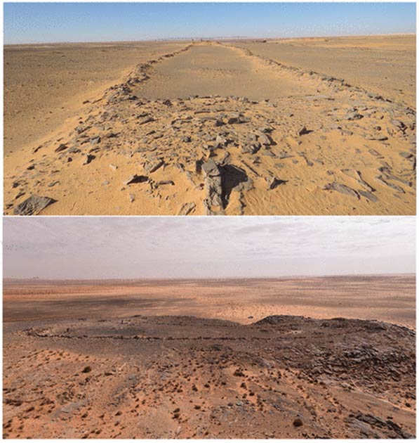 Two of the mustatils found in the Nefud Desert (Groucutt et al. / The Holocene)