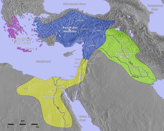 The Mycenaean dominion is highlighted in purple and the Hittite in blue