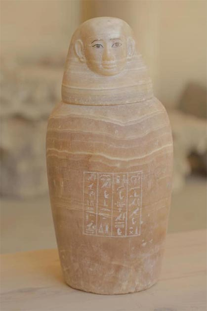 One of the mystery canopic jars containing an unidentified organ. Credit: Ministry of Tourism and Antiquities