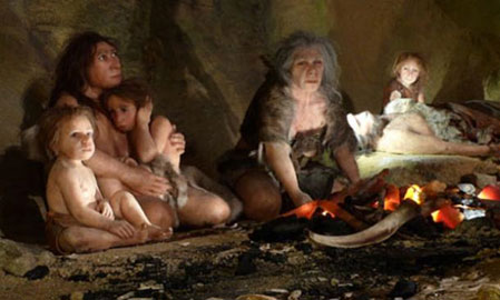 Depiction of a Neanderthal family
