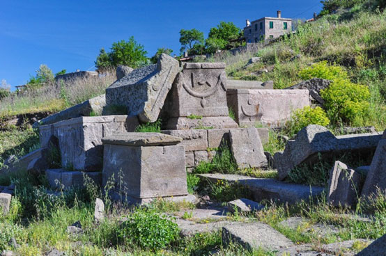 Sarcophagi of the western necropolis of Assos - Turkey