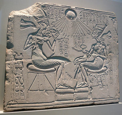 "A ""house altar"" depicting Akhenaten and Nefertiti"