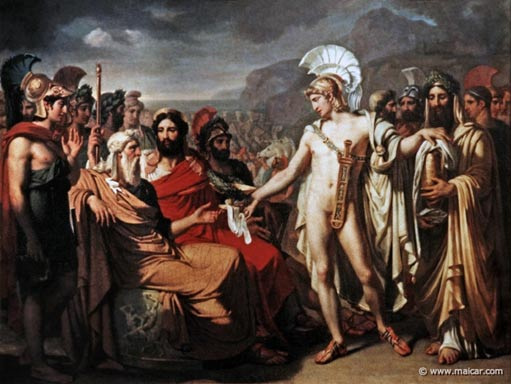 Nestor begins to talk, convincing Agamemnon and the rest of the army to fight