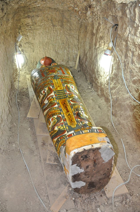 The newly-discovered mummy and sarcophagus in Luxor.