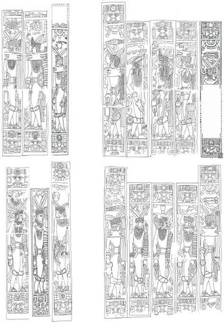 The nobles of the Cocom dynasty as depicted on the walls of the Temple of Jaguars. (Academia)
