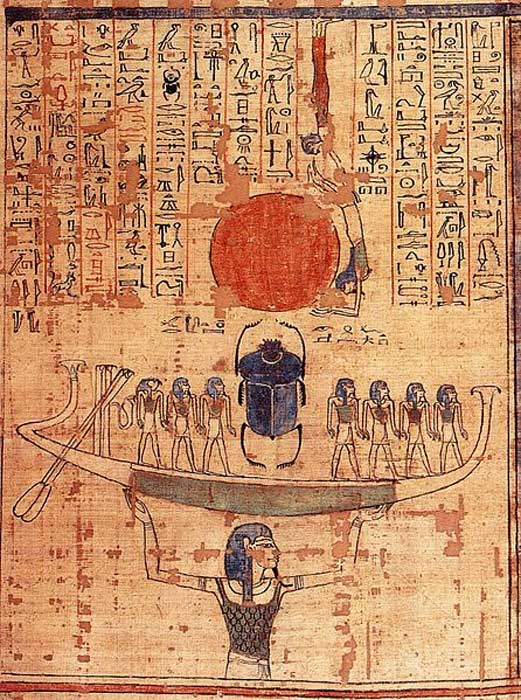 Nun, god of the waters of chaos, lifts the barque of the sun god Ra (represented by both the scarab and the sun disk) into the sky at the beginning of time