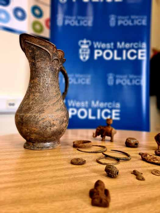 Some of the objects from the stolen treasure that was uncovered in a field in Worcestershire, England. (West Mercia Police)
