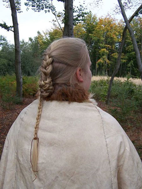 Reconstruction of hairstyle and skin cape of the bog body Elling Woman near Silkeborg, Denmark.